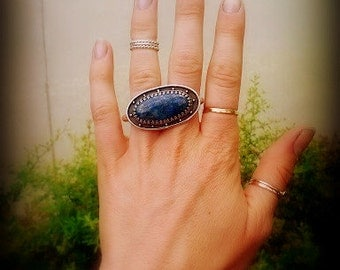 Lapis Lazuli Double Finger Ring In Sterling Silver - Lapis Two Finger Ring with Art Deco Design