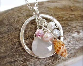 Hawaii shell sterling silver beach necklace - Hawaiian Beach wedding jewelry, beachy necklace, hawaii jewelry, shell necklace, seashells