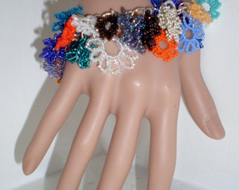 Charm Bracelet Cuff Bangle Bead Flowers Daisy Multi Colors Chunky Orange Turquoise Garden Wedding Bride Statement