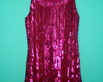 Vintage Sequined Trina Turk Of L.A. Fuchsia Rose Quartz Top Dress 100% Silk Small  High Fashion Resort Hollywood Glam Statement