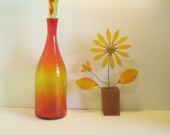 Vintage BLENKO GLASS, Tall Crackle Bottle with Solid Glass Stopper, 6123M, Tangerine
