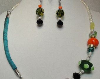 Necklace Mix Beads Elegant Swarovski Crystal Glass Beads Silver Beads Melon Lime Teal Black Green