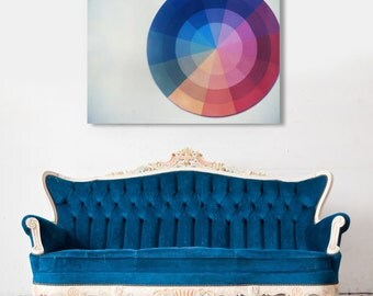 Fine Art Canvas Gallery Wrap Giclee Print Color Wheel Finished Ready to Hang Home Decor Film Rainbow Modern Retro Wholesale