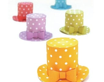 Polka dot mini top hat templates/patterns with an easy no-sew step by step instructions by Happythought.
