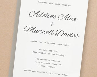 Printable Invitation Template | INSTANT DOWNLOAD | Simple Calligraphy | Word or Pages | Easy DIY | Editable Artwork Colors