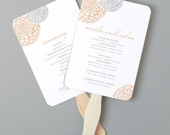 Instant Download | DIY Wedding Program Fan Template - Blooms - Editable Colors | Mac or PC | Word & Pages | 5x7