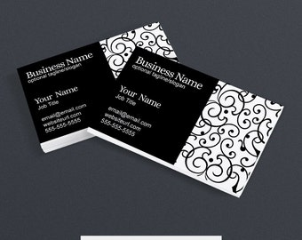 Business Card Design - Printable -  Black and White - Elegant PS1