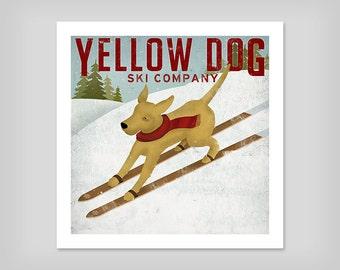 FREE Personalized Customizable Yellow Dog Labrador Ski Company Print signed  Customize