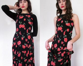 Vintage ROSE RED Maxi Dress XS Size 6