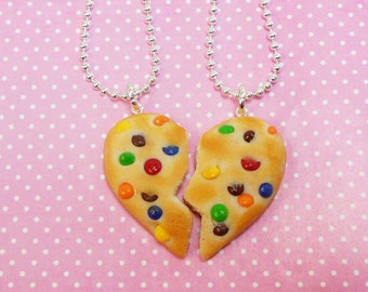 polymer clay rainbow chip cookie best friend bff friendship necklaces