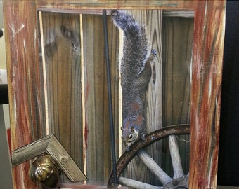 Squirrel Goes Nutty for Acorns Camouflage fine art  16 by 20 inches