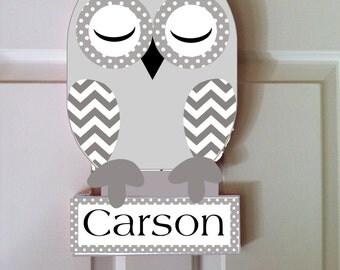 owl room decor, children's owl decor, owl nursery decor, kids room decor, personalized owl, owl door hanger, children's name sign, wood owl