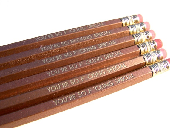 6 VALENTINE PENCILS - gold Radiohead pencil set - you're so fxcking special hex pencils w/ kraft pencil box