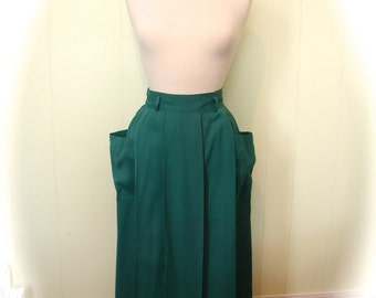 Vintage 1940s Gabardine Skirt - 40s Green Fab Gab Dead Stock Skirt with Jutting Pockets S - on sale