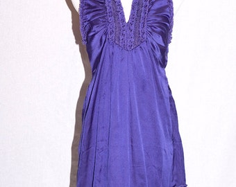 Dark Purple Ruffle Fashion Summer Spring Dress Size