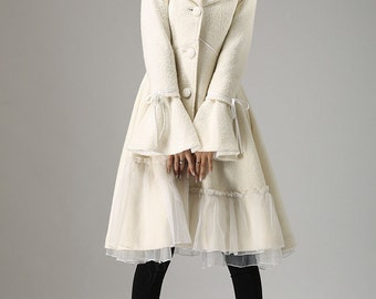 Items similar to Winter Wonderland Wool Coat White Faux Fur Trim ...