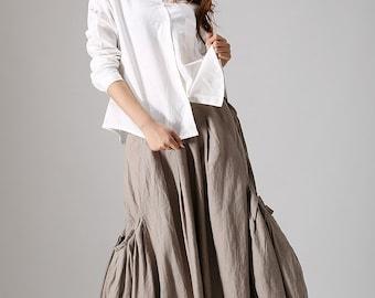 khaki skirt, linen skirt, maxi skirt with pockets,Long skirt ,women clothes,lagenlook skirt, bubble skirt, pocket skirt, plus size skirt 866