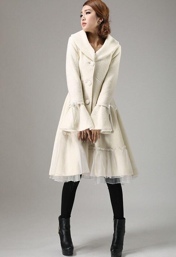 White coat wool coat winter coat boho coat collar coat