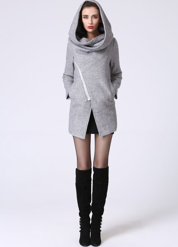 Asymmetrical Coat with Snood Hood - Women Pale Gray Mini Winter Jacket with Zipper Closure & Pockets-20% sale (1060)