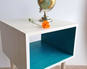 The Side Table... MCM Mid Century Modern Side Table inWhite and Turquoise / Furniture Midcentury Bed Side Table End Table