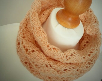 Just Peachy Knitted Snood Infinity Scarf - Womens Hand Dyed Organic Accessory - Naturally Dyed - Ready to Ship