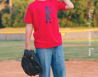 Little Slugger Nostalgic Graphic Tee in Short Sleeves - Red with Navy