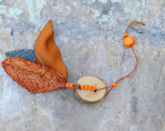 Fall ornament, Leaves ornament with orange beads, Home Nature decoration, Autumn Home Decor