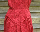 Vintage 1950s Red Dress with Black Flowers S/XS