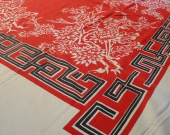 Vintage Cotton Table Cloth Red White Navy 61 X 54