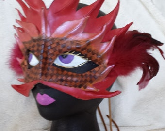 Firequeen leather masquerade mask