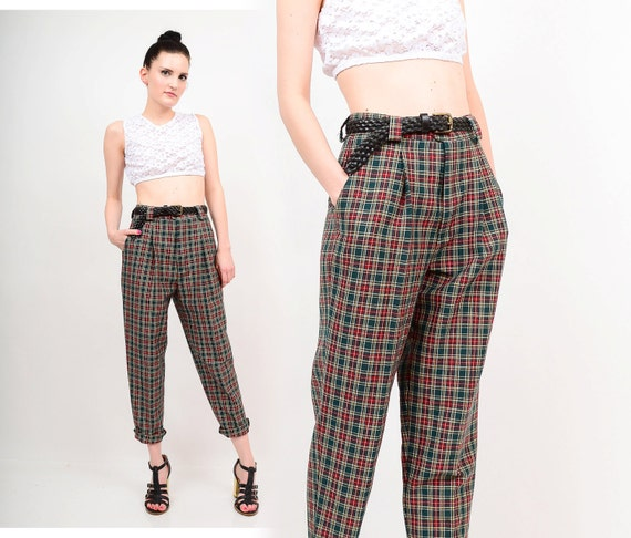 plaid high waisted pants - Pi Pants