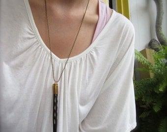 Bullet & Mega Spike Necklace - Long Carved Bone Pendant Piece. Statement Necklace.