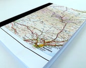 Spain and Andorra (France Map #3) Recycled Vintage Map Notebook