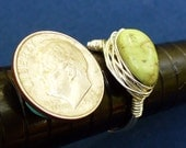 Silver Plated Wire Wrapped Ring with Small Lime Green Turquoise size 6