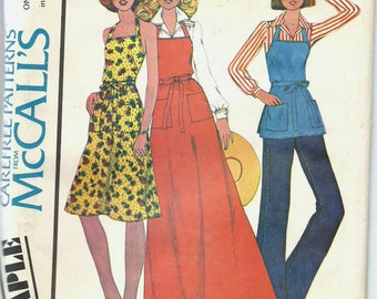 Uncut, Misses Size 6-20, Vintage Sewing Pattern, McCall's Sample, Misses Apron, Wrap Dress, Maxi, Tunic Top, Butcher, All sizes, Small, Plus