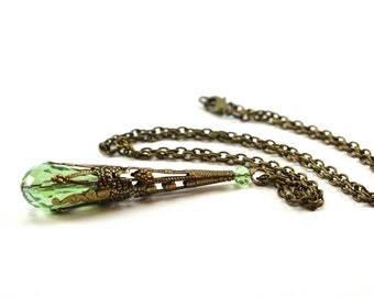 Peridot Necklace Long Filigree August Birthstone Necklace Antiqued Brass August Birthday Pendant