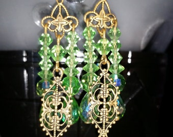 Vintage Green Faceted Beads and Gold Filigree Pierced Wire Earrings Jewelry Fashion Accessory August Birthdays Holiday Stocking Stuffer Gift