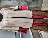 SALE Discount at Checkout / Upcycled Duster Coat / Sweatercoat in Metallic Copper, Wine and Tan