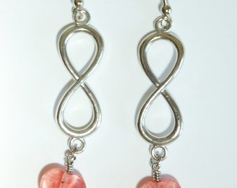 Infinity Charm n Pink Hearts with Garnet Dangle Earrings, Infinity Symbol Earrings, Figure Eight Earrings, Math Earrings, Romantic Jewelry