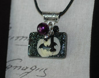 Halloween Bat Charm Necklace, Halloween Charm Necklace , Bat Necklace , Handmade Resin Pumpkin and Bat Necklace