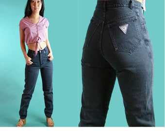 Vintage Denim Jeans High Waisted Jeans Faded Distressed Black Wash PALMETTOS Taper Jeans High Waist Black Jeans 80s Mom Jeans 26 Waist