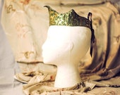 SALE! flawed Green and Gold Brocade Crown with Brown Laces (ADULT SIZE) Tiara