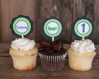 Alligator Theme Cupcake Toppers - Alligator Happy Birthday Party Decorations - Alligator Cupcake Decorations - Navy Blue and Green