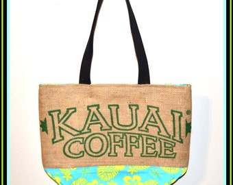 Large Tote - Kauai Coffee Recycled Tote Bag - Blue and Yellow