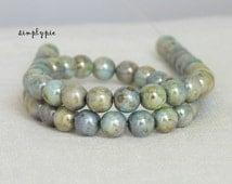 Blue-Green Lumi Picasso, Czech Beads, 6mm Druk 25 Opaque Round Glass Beads