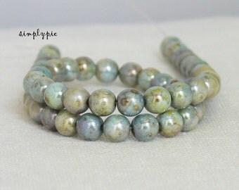 Blue-Green Lumi Picasso Czech Beads 6mm Druk 25 Opaque Round Glass Beads