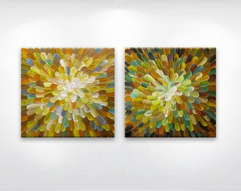 Original painting 'Abstract #27' - 2 panels / SET diptych by Tat Georgieva MADE2ORDER. Yellow, gold, mustard, turquoise, brown.