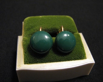 Vintage Forest Green Round Glass Clip Earrings