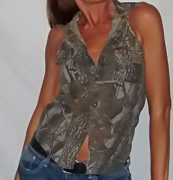 Camouflage Cotton Button Up Shirt Recycled In To A Ladies