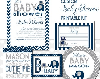 Elephant Baby Shower Printable Kit, Custom
